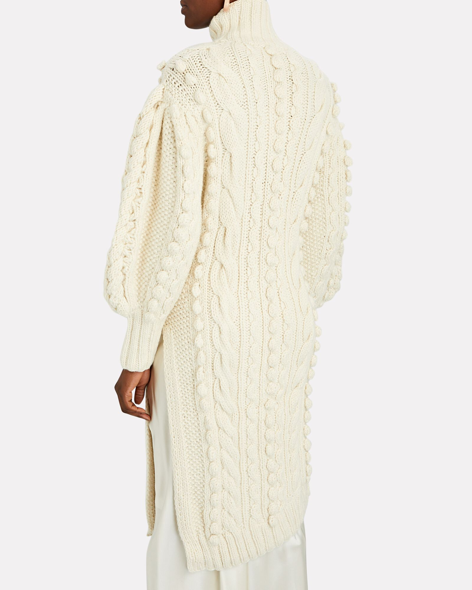 Frida Cable Knit Wool Sweater Dress, IVORY, hi-res