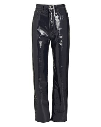 90s Pinch Waist Recycled Leather Pants, GREY, hi-res