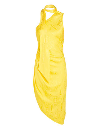 Zoey Moiré Asymmetrical Mini Dress, YELLOW, hi-res