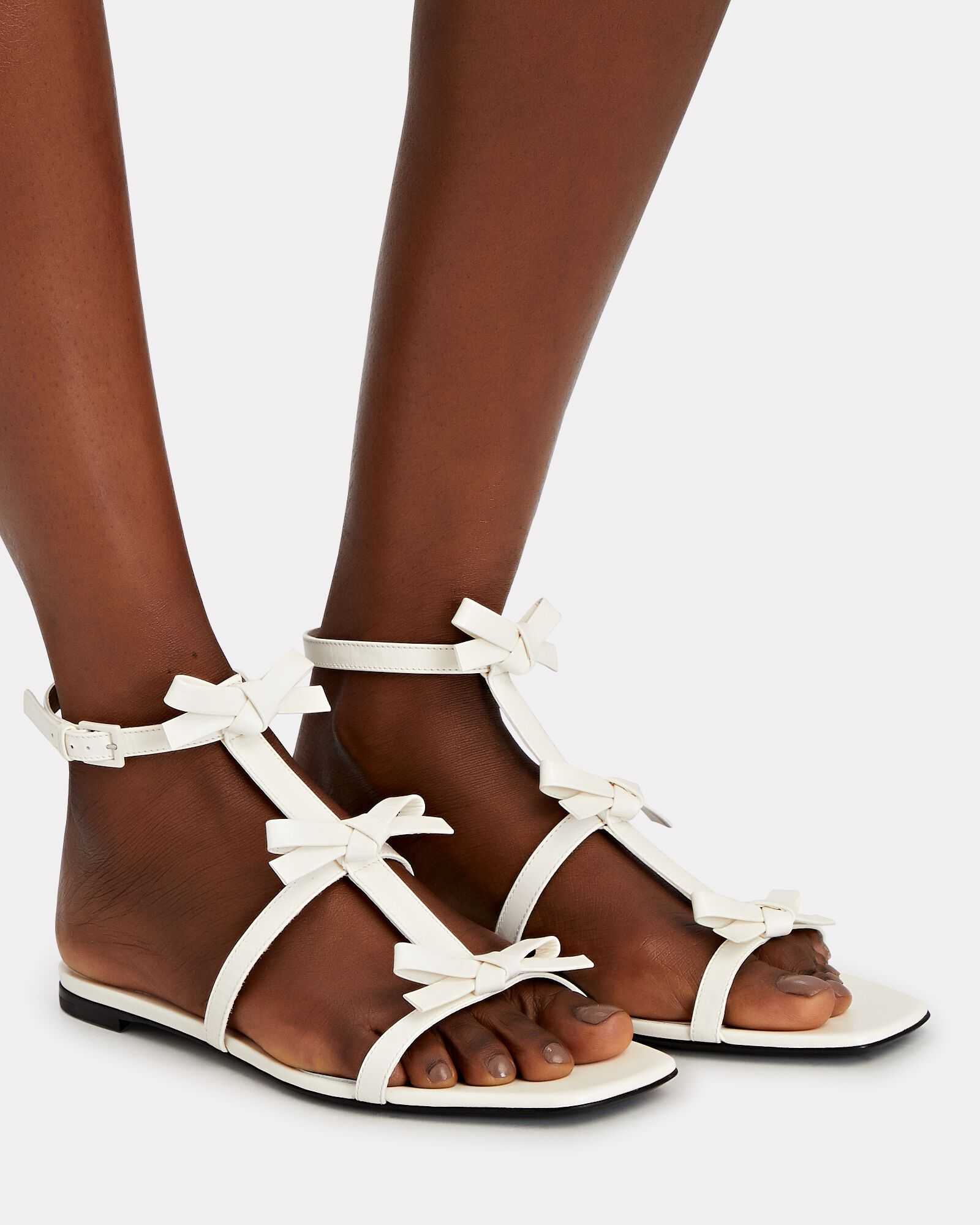French Bow Leather Flat Sandals, WHITE, hi-res