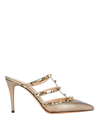 Rockstud Caged Leather Mules, GOLD, hi-res