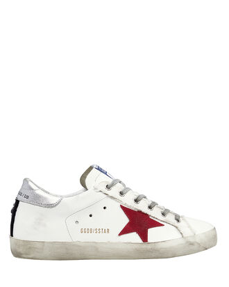 Superstar Leather Low Top Sneakers, WHITE/RED, hi-res