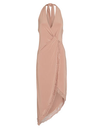 Twisted Lace-Trimmed Halter Dress, BLUSH, hi-res