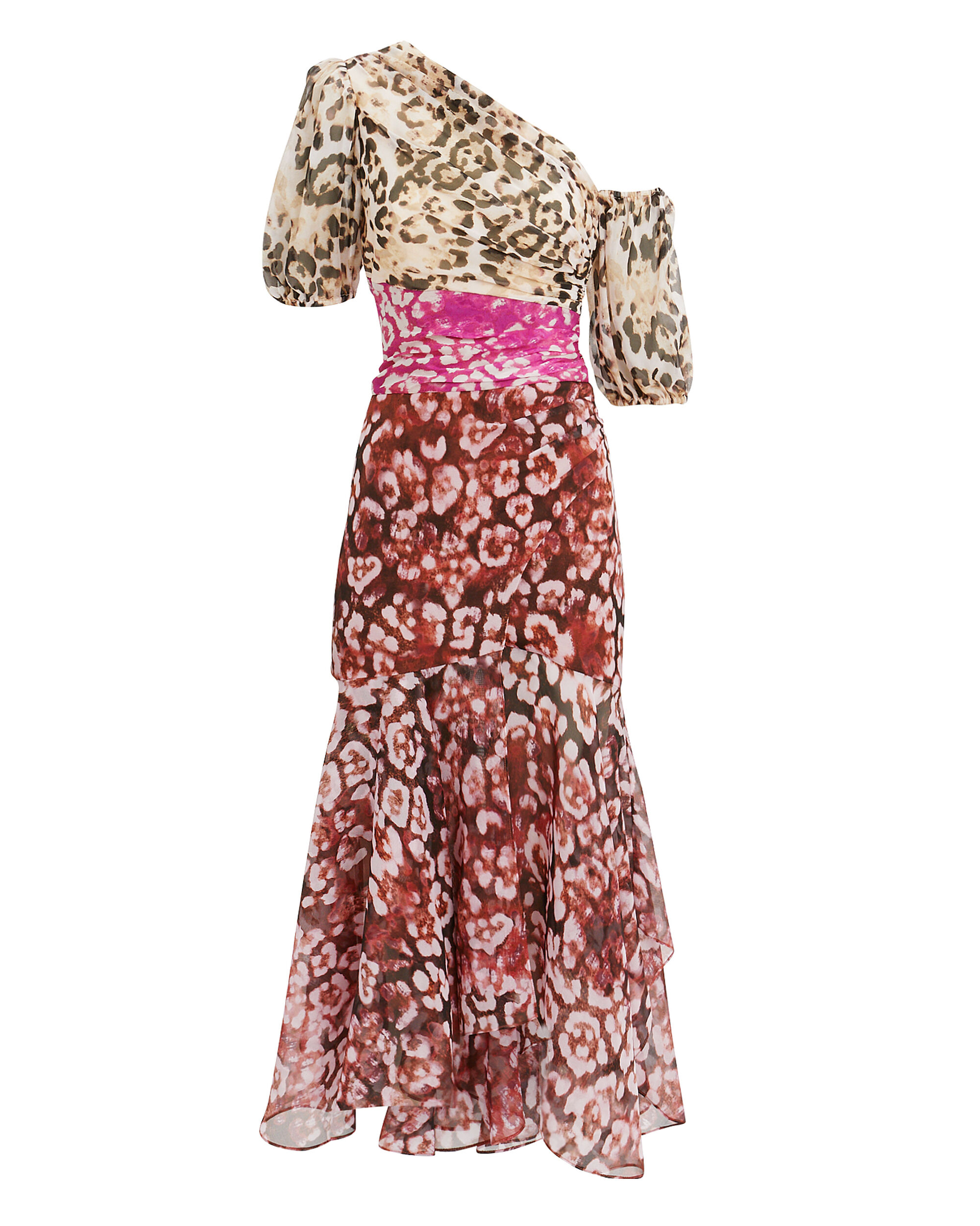 Jaylah Mixed Animal Print Dress, BROWN/PINK/RED LEOPARD, hi-res