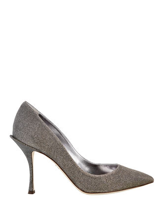 Silver Metallic Pumps, SILVER, hi-res