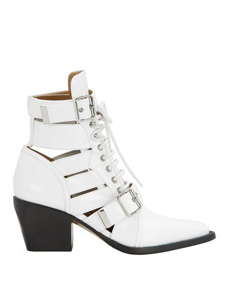 Rylee Cutout White Ankle Boots, WHITE, hi-res