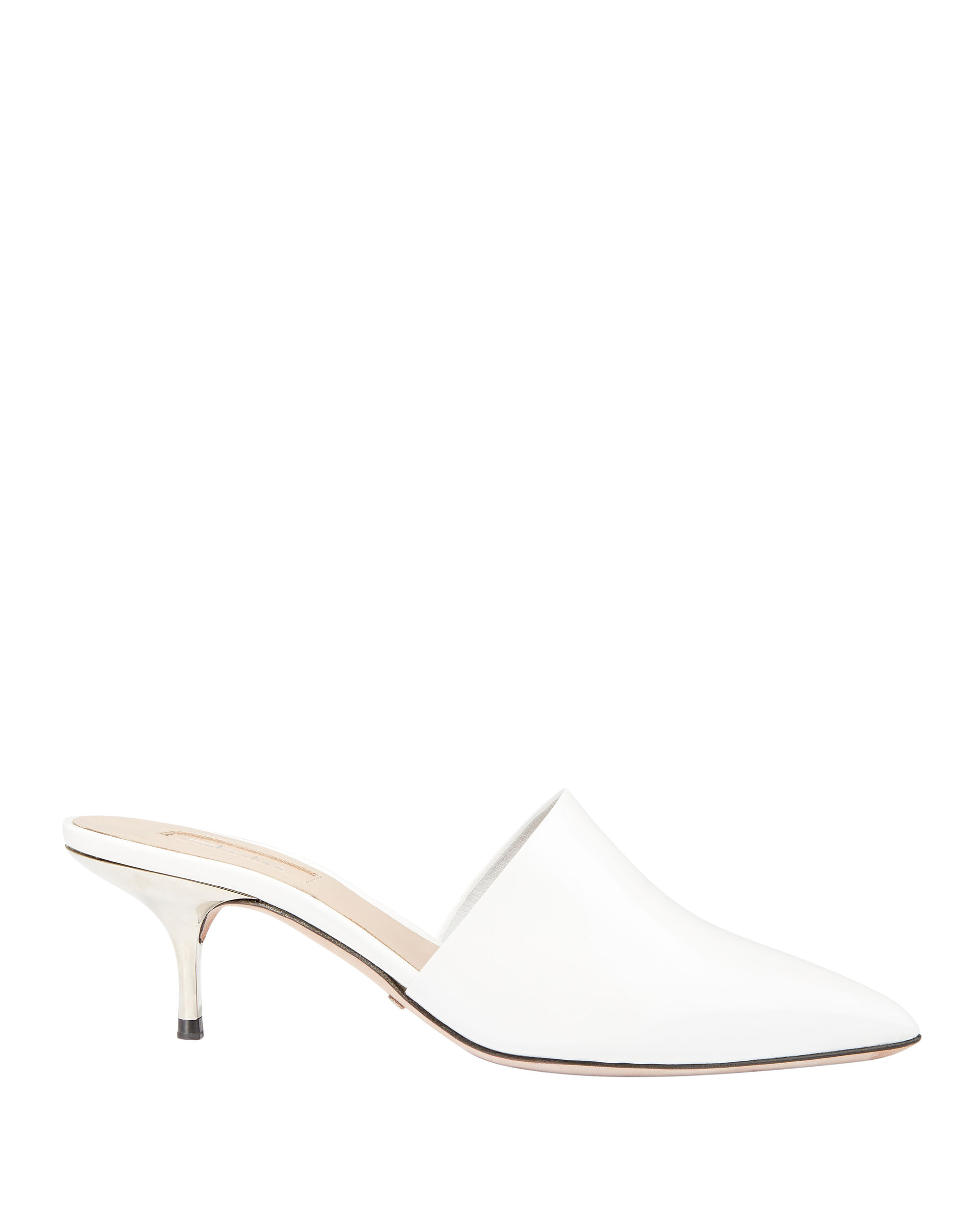 White Leather Silver Kitten Heel Mules, WHITE, hi-res