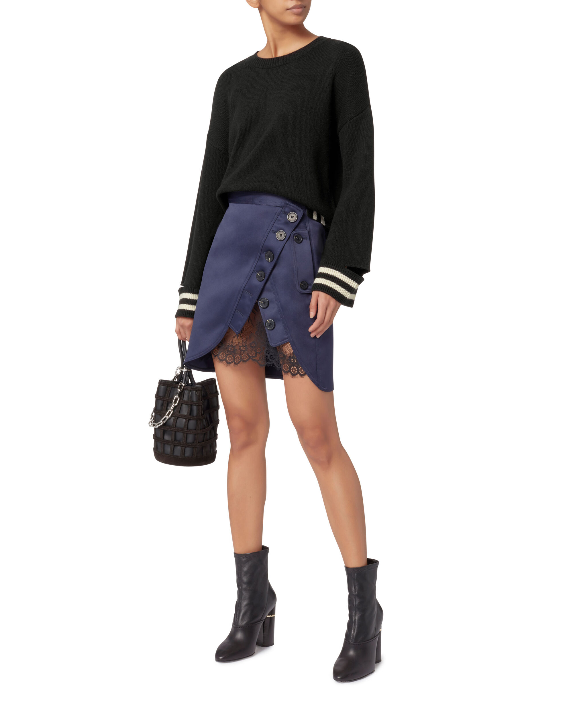 Bowie Stripe Cropped Knit Top, BLACK, hi-res