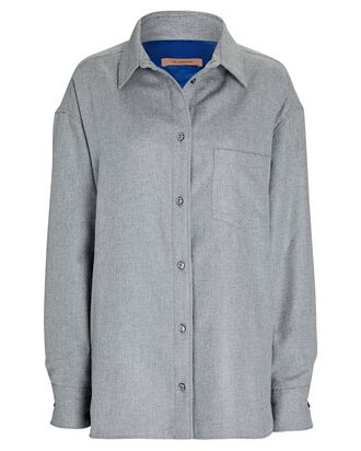 Georgiana Quilted Flannel Button-Down Shirt, GREY, hi-res