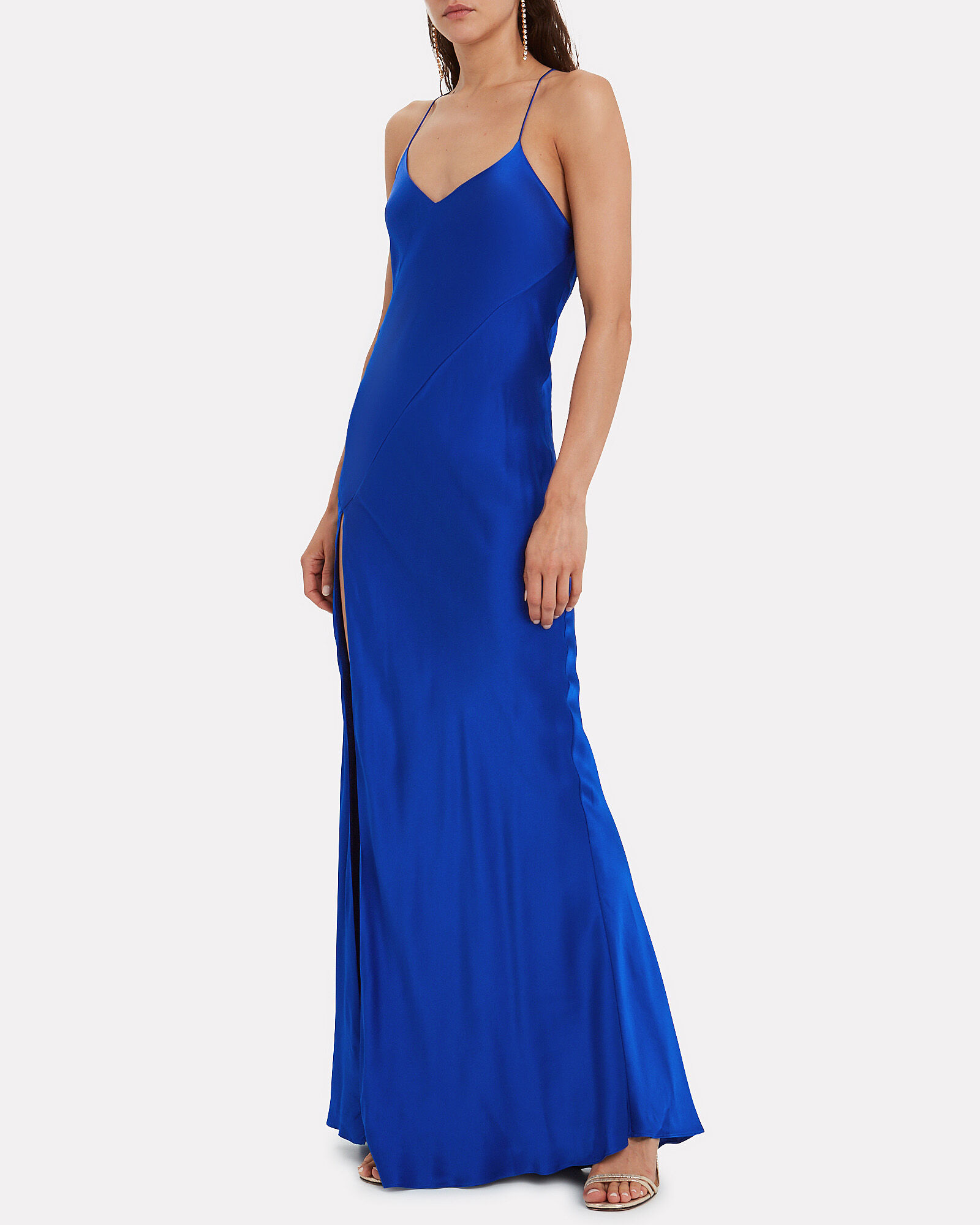 Bias Cut Silk Charmeuse Gown, COBALT BLUE, hi-res