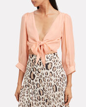 Tia Cropped Tie Front Blouse, PINK, hi-res