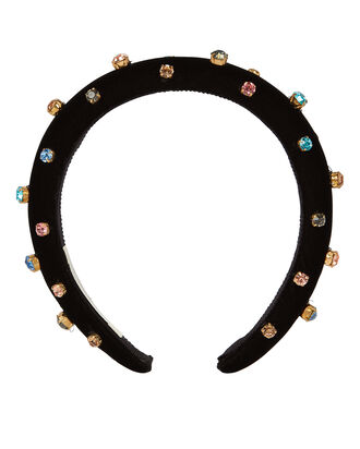 Studded Crystal Velvet Headband, BLACK, hi-res