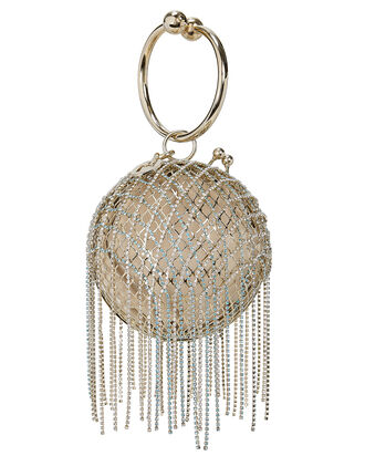 Camelia Crystal Fringe Cage Bag, GOLD, hi-res
