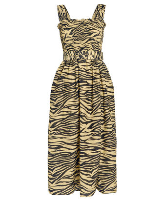 Smocked Zebra Print Dress, YELLOW/BLACK, hi-res