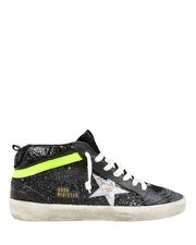 Mid Star Black Glitter Sneakers, BLACK/SILVER/LIME GREEN, hi-res