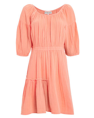 Camellia Cotton Dress, CORAL, hi-res