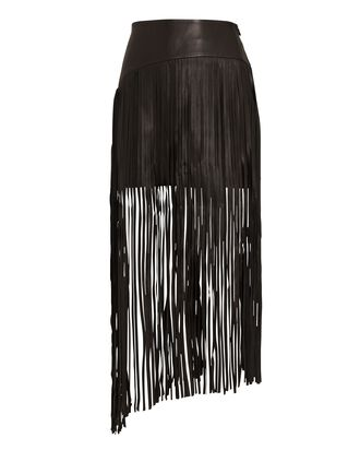 Sylvia Fringed Leather Skirt, BLACK, hi-res
