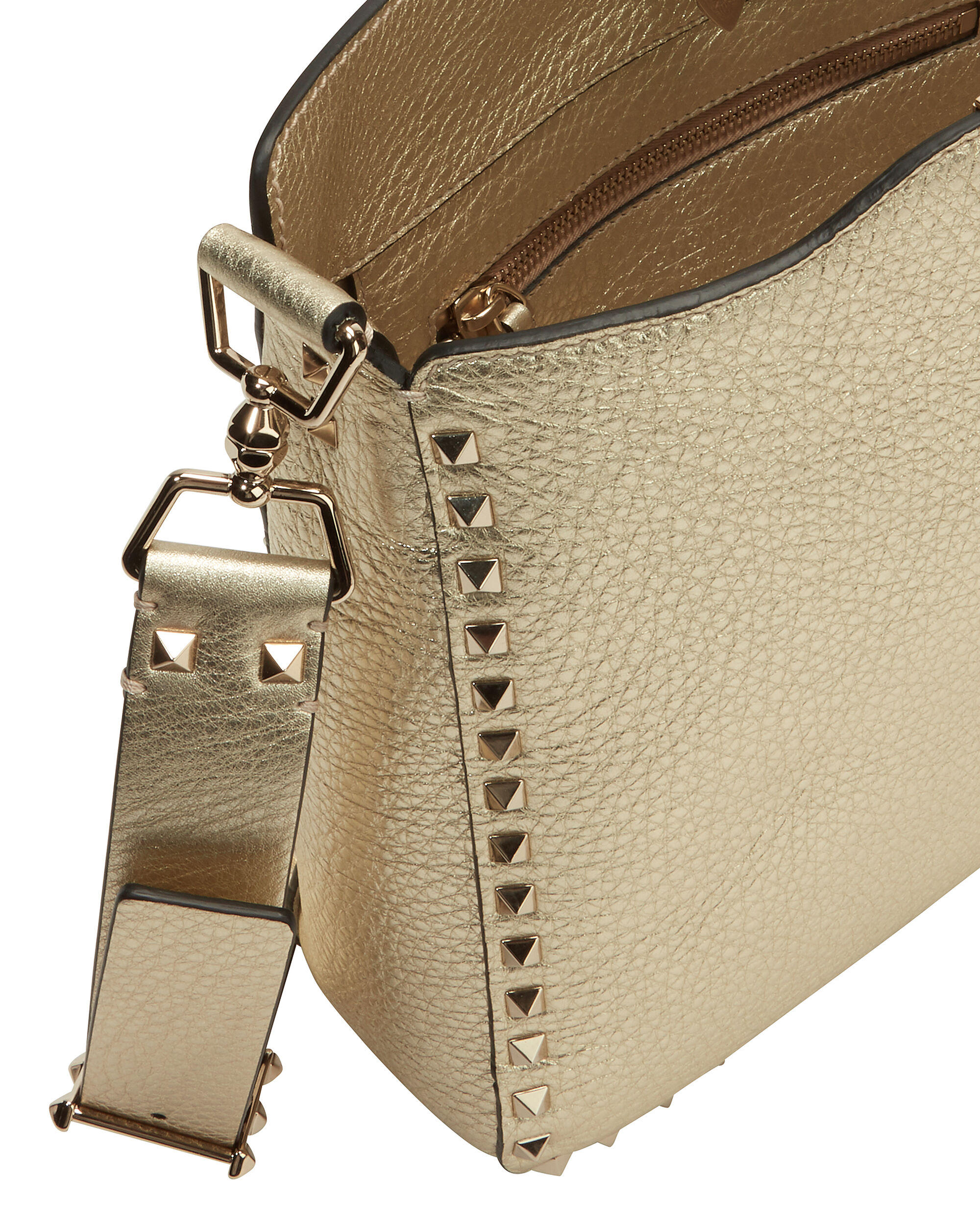 Rockstud Small Leather Hobo Bag, GOLD, hi-res