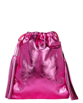 Drawstring Leather Clutch, METALLIC FUCHSIA, hi-res