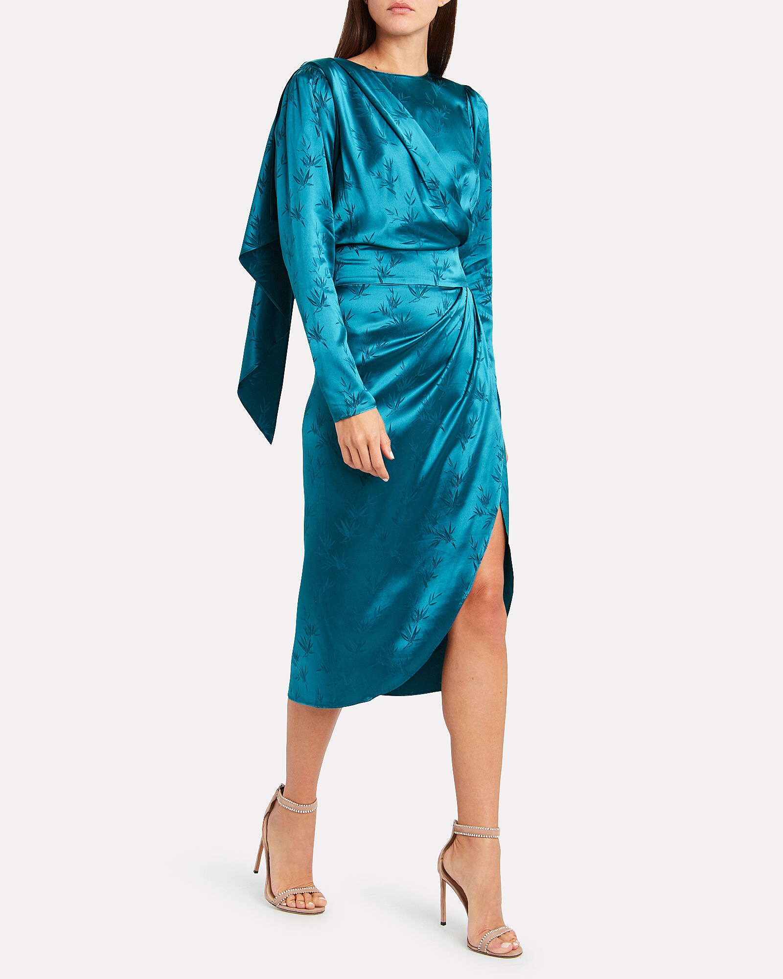 Jade Palm Jacquard Dress, BLUE-DRK, hi-res