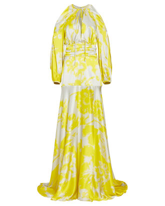 Benevento Printed Silk Maxi Dress, YELLOW/WHITE, hi-res