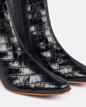 Sofia Croc-Embossed Leather Booties, BLACK, hi-res