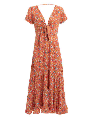 Agnes Fleur Midi Dress, ORANGE/FLORAL, hi-res