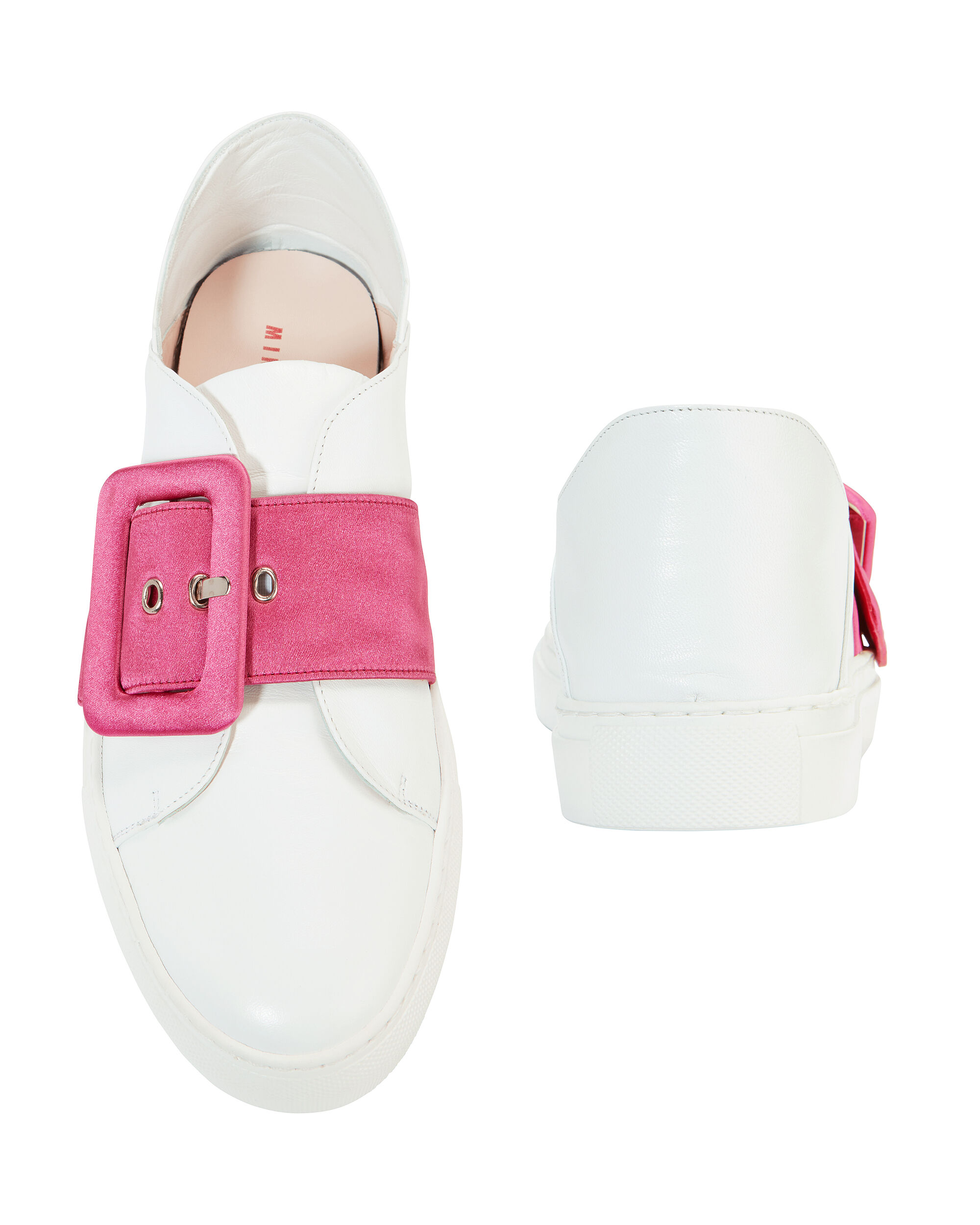 Pink Satin Buckle Sneakers, WHITE, hi-res