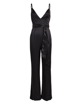 Benton Sleeveless Satin Jumpsuit, BLACK, hi-res