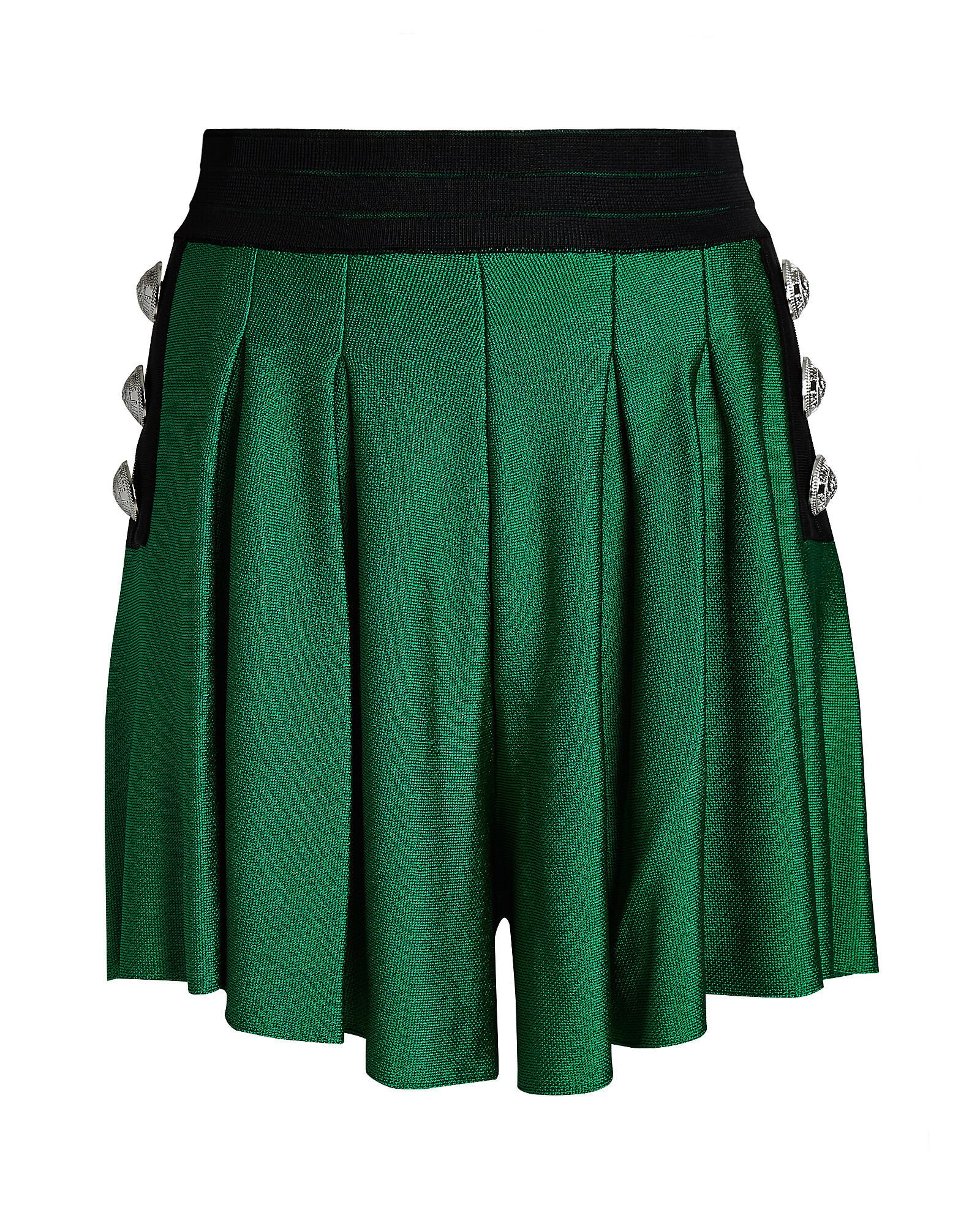 High-Rise Pleated Knit Shorts, GREEN, hi-res