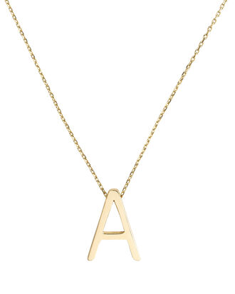 A Alphabet Necklace, GOLD, hi-res