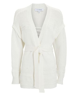 Selene Cotton Wrap Cardigan, IVORY, hi-res