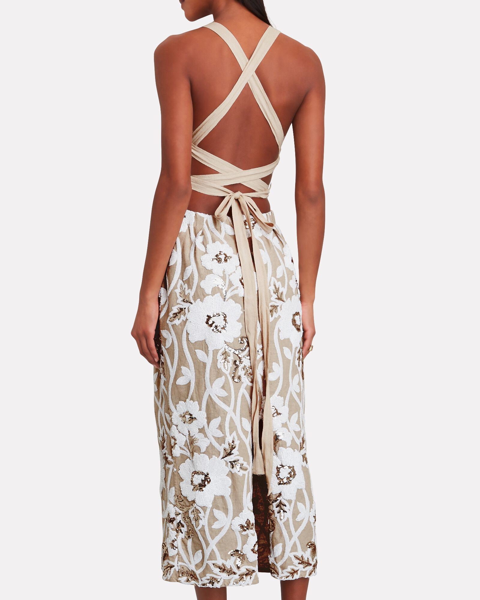Lainey Embroidered Floral Midi Dress, CREAM/WHITE, hi-res
