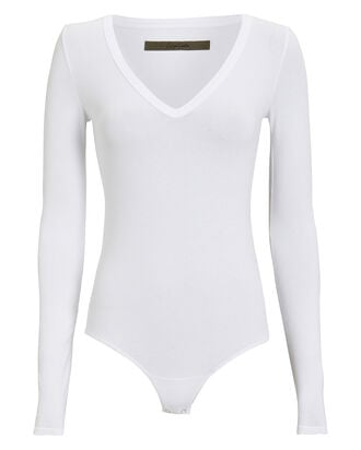 Ribbed V-Neck Bodysuit, WHITE, hi-res