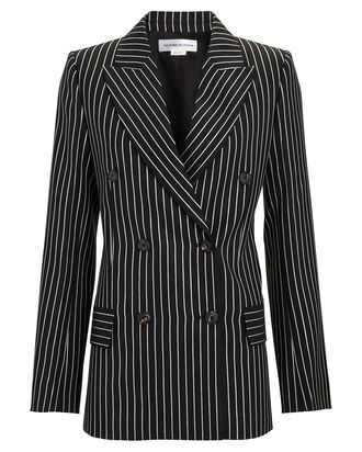 Striped Double-Breasted Blazer, BLACK, hi-res