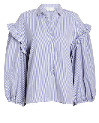 Denise Striped Poplin Blouse, BLUE-LT, hi-res