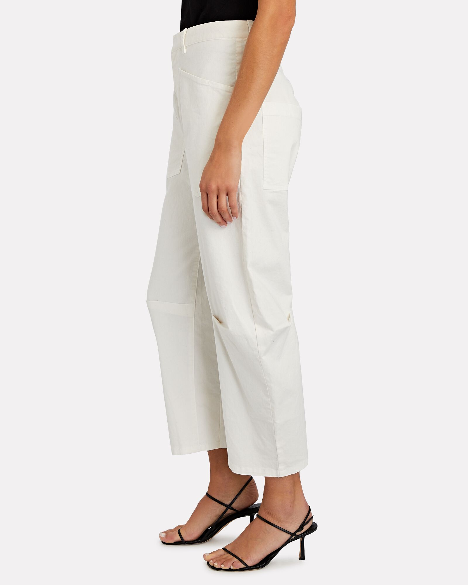 Shon Curved Twill Pants, IVORY, hi-res