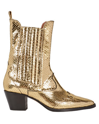 Atlanta Snake-Embossed Cowboy Booties, GOLD, hi-res