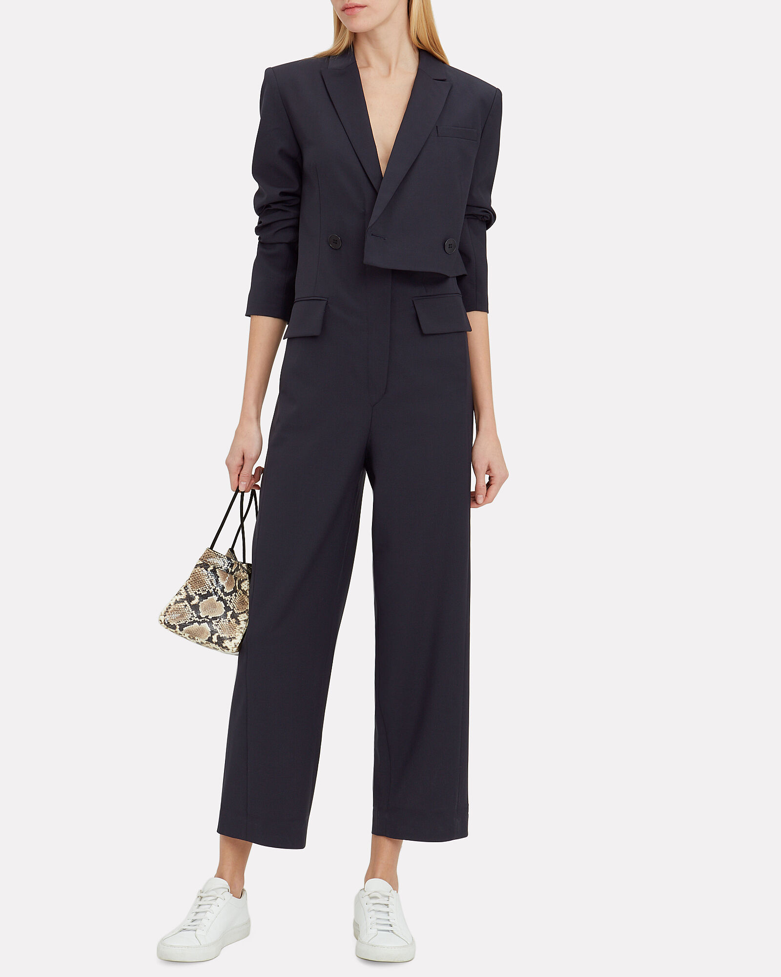 Double-Breasted Blazer Jumpsuit, NAVY, hi-res