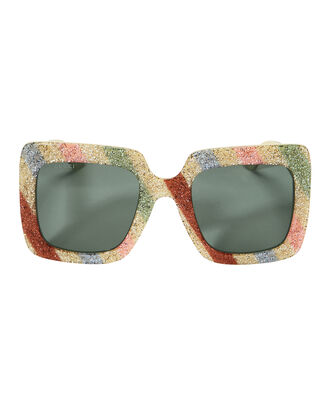 Oversized Glitter Sunglasses, LIGHT STRIPES, hi-res