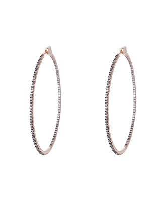 Evie Rose Gold Slim Hoop Earrings, ROSE GOLD/LAVENDER, hi-res