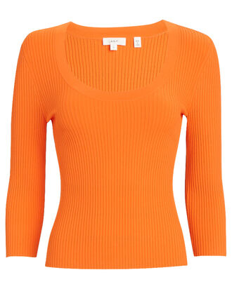 Brandon Rib Knit Top, ORANGE, hi-res