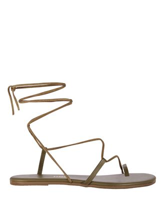 Jo Leather Lace-Up Sandals, OLIVE, hi-res