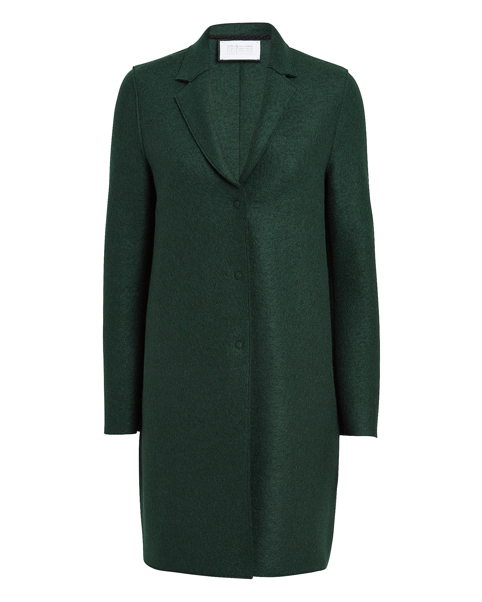 Pressed Wool Cocoon Coat, GREEN, hi-res