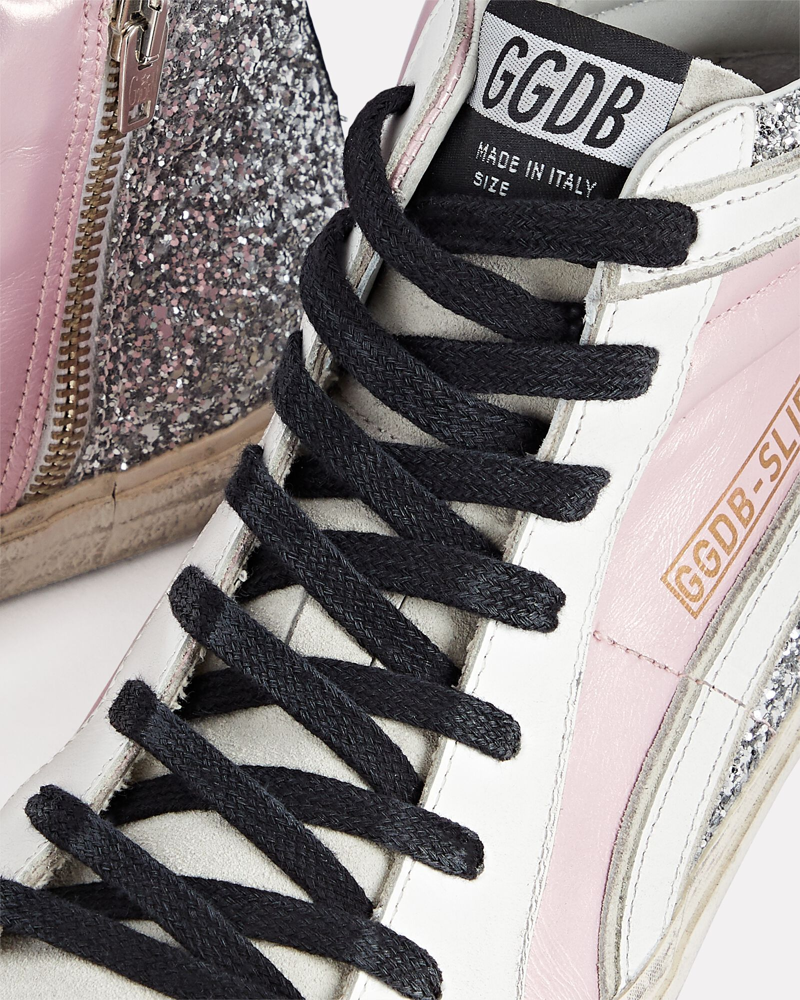 Slide Glitter High-Top Sneakers, PINK, hi-res