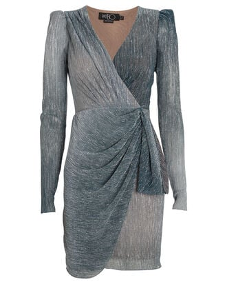 Ombré Lurex Wrap Mini Dress, BLUE/METALLIC, hi-res
