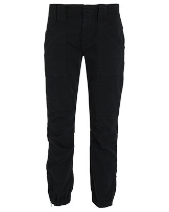 Trapunto Cropped Moto Pants, BLACK, hi-res
