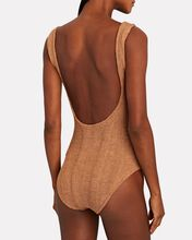 Square Neck One-Piece Swimsuit, BROWN, hi-res