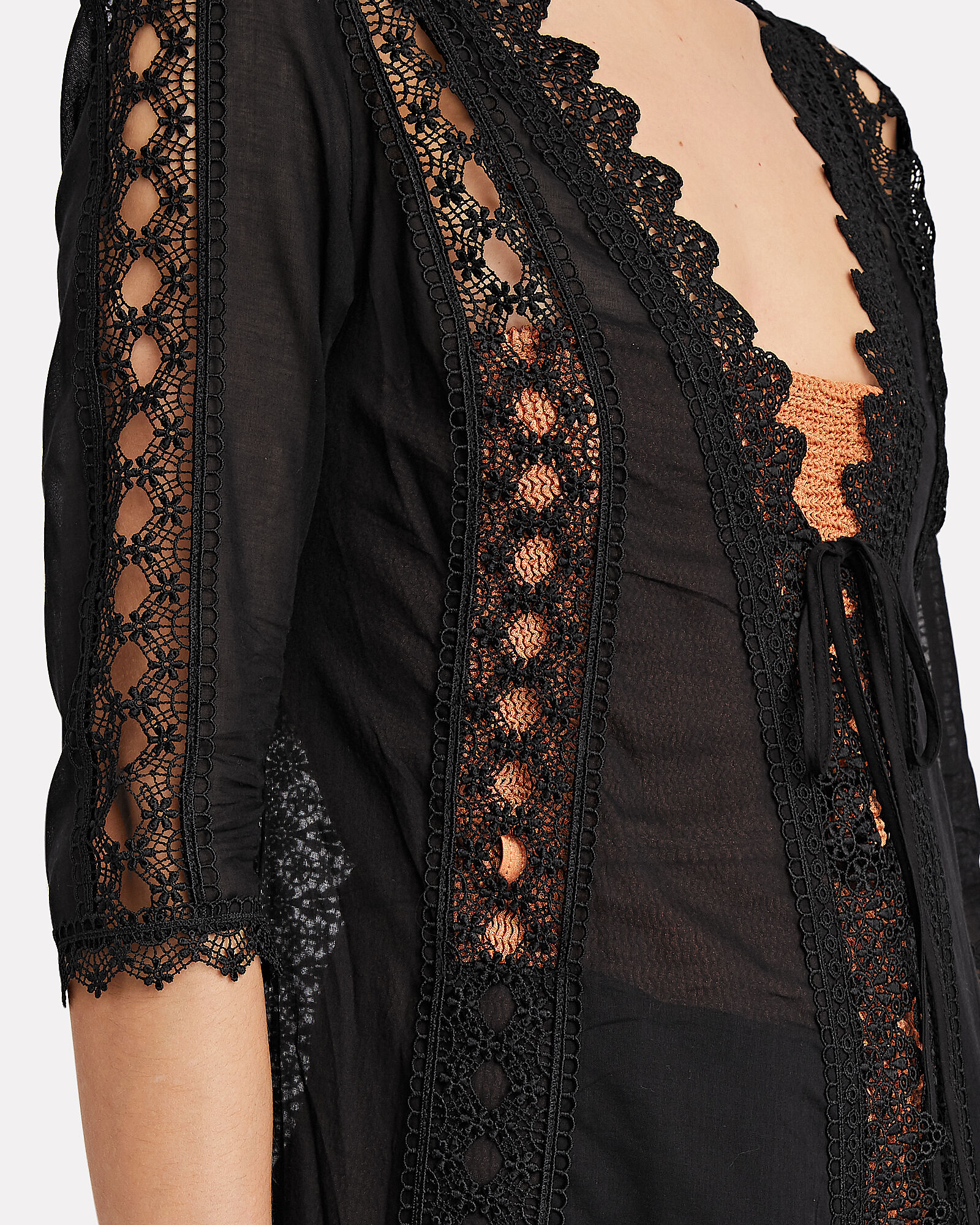 Ali Lace-Trimmed Chiffon Cover-Up, BLACK, hi-res