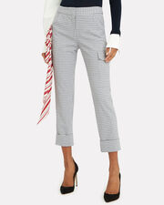 Beaton Red Scarf Checked Pants, GREY/WHITE/RED, hi-res